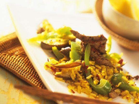 Zitronen-Gemüse-Reis mit Fleischstreifen