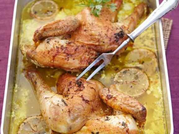 Zitronen-Safran-Poularde