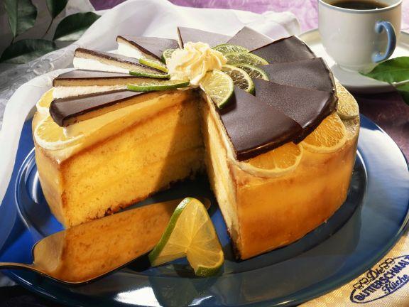 Zitronen-Torte mit Marzipan