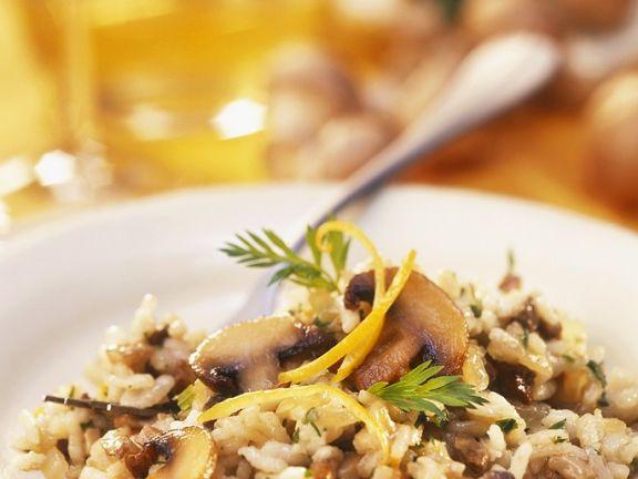 Zitroniges Risotto mit Pilzen
