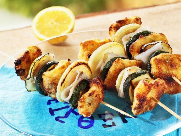 Zucchini-Fisch-Spieße auf griechische Art