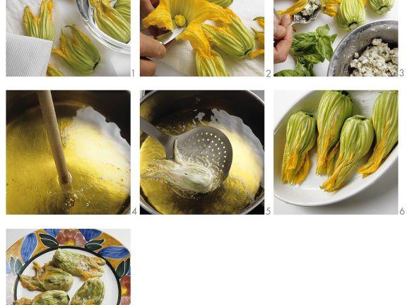 Zucchiniblüten mit Füllung