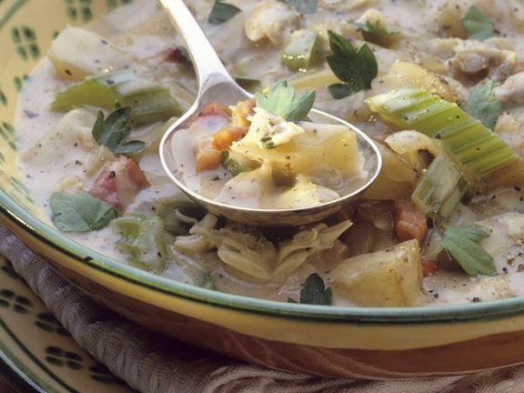 Zucchinisuppe mit Quarkklößchen