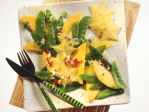 Zuckerschotensalat mit exotischen Früchten
