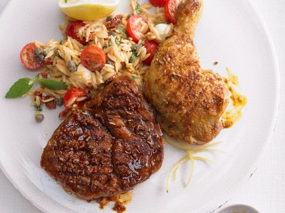 Zweierlei Fleisch mit Risoni