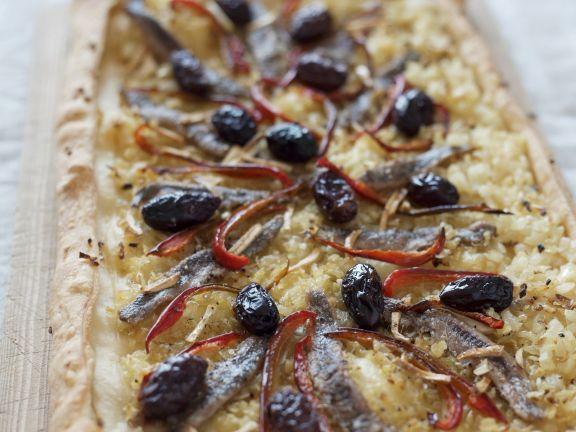 Zwiebelkuchen mit Sardellen auf provenzalische Art