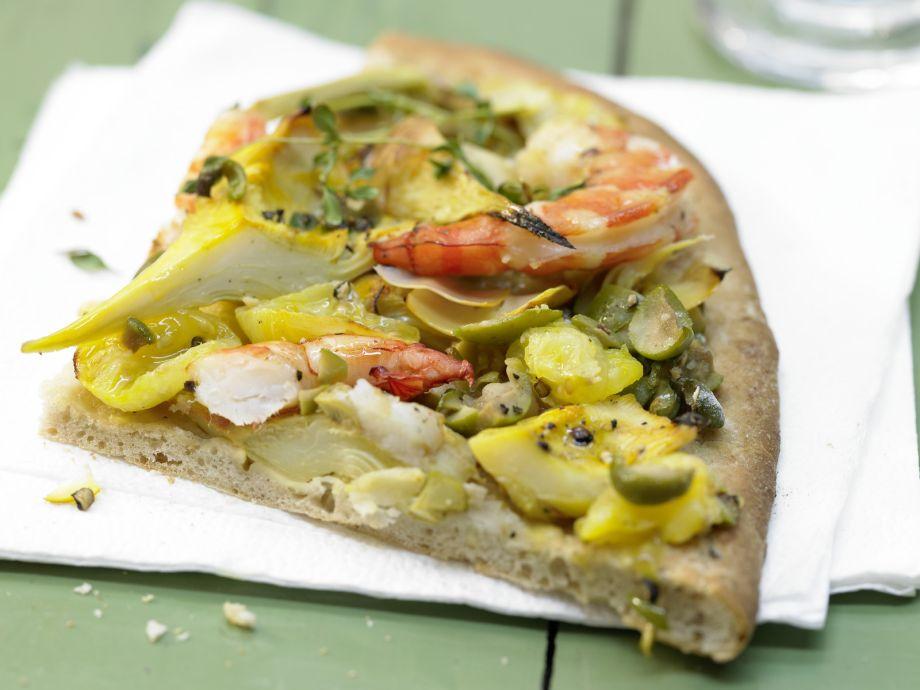 Garnelen-Pizza mit Artischockenherzen - Garnelen-Pizza mit Artischockenherzen - Italo-Food für Anspruchsvolle – da kommt kein Pizzaservice mit