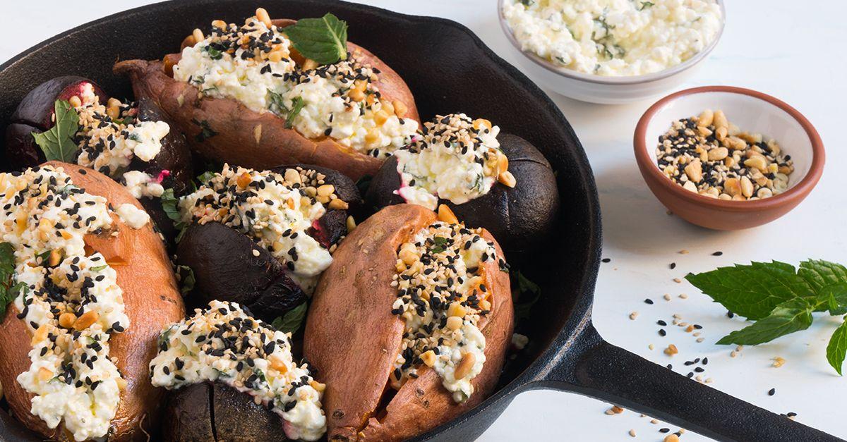 Gebackene Süßkartoffeln und Rote Bete