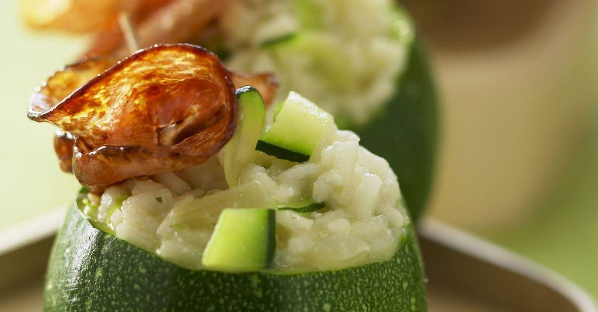 rondini runde zucchini mit reis und pancetta gef llt rezept eat smarter. Black Bedroom Furniture Sets. Home Design Ideas