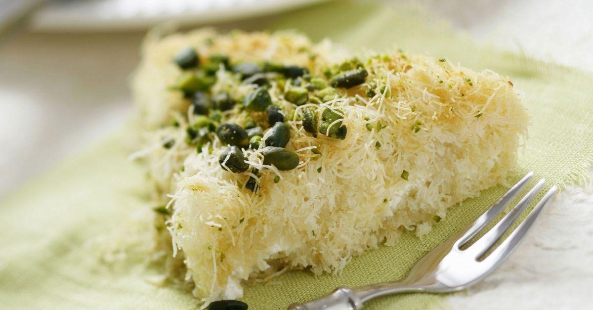 Turkischer Engelshaar Kuchen Mit Pistazien Und Frischkase Rezept