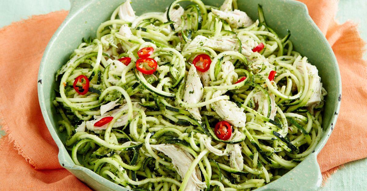 Zucchininudeln mit Rucola-Pesto und Hähnchenbrust