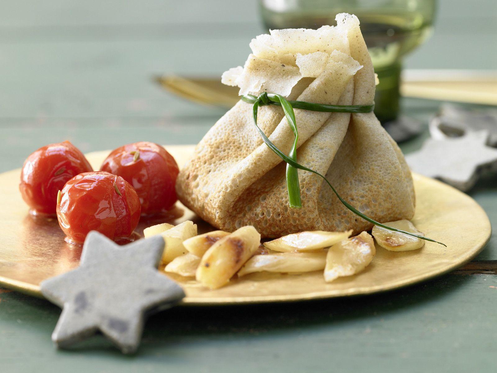 Weihnachtsmenü Vegetarisch.Crêpe Päckchen