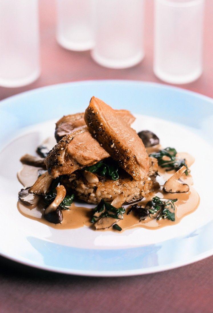 Entenbrust Auf Risottoplätzchen Mit Pilzsauce Rezept Eat Smarter