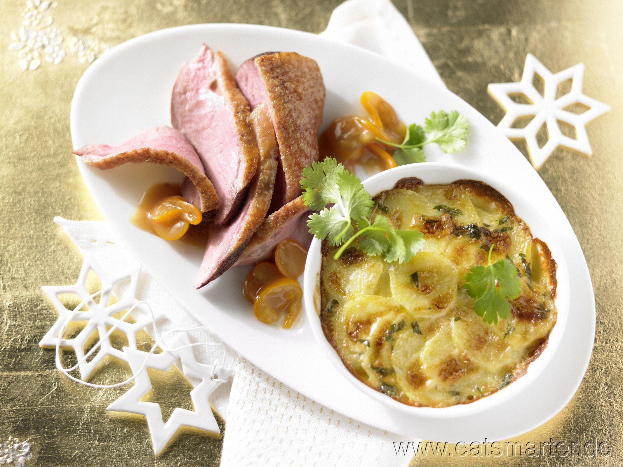 Ideen Für Einfaches Weihnachtsessen.Entenbrustfilet Mit Kumquats
