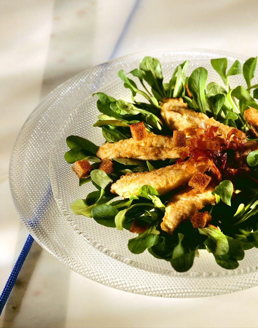 feldsalat mit gebratenen champignons und speck