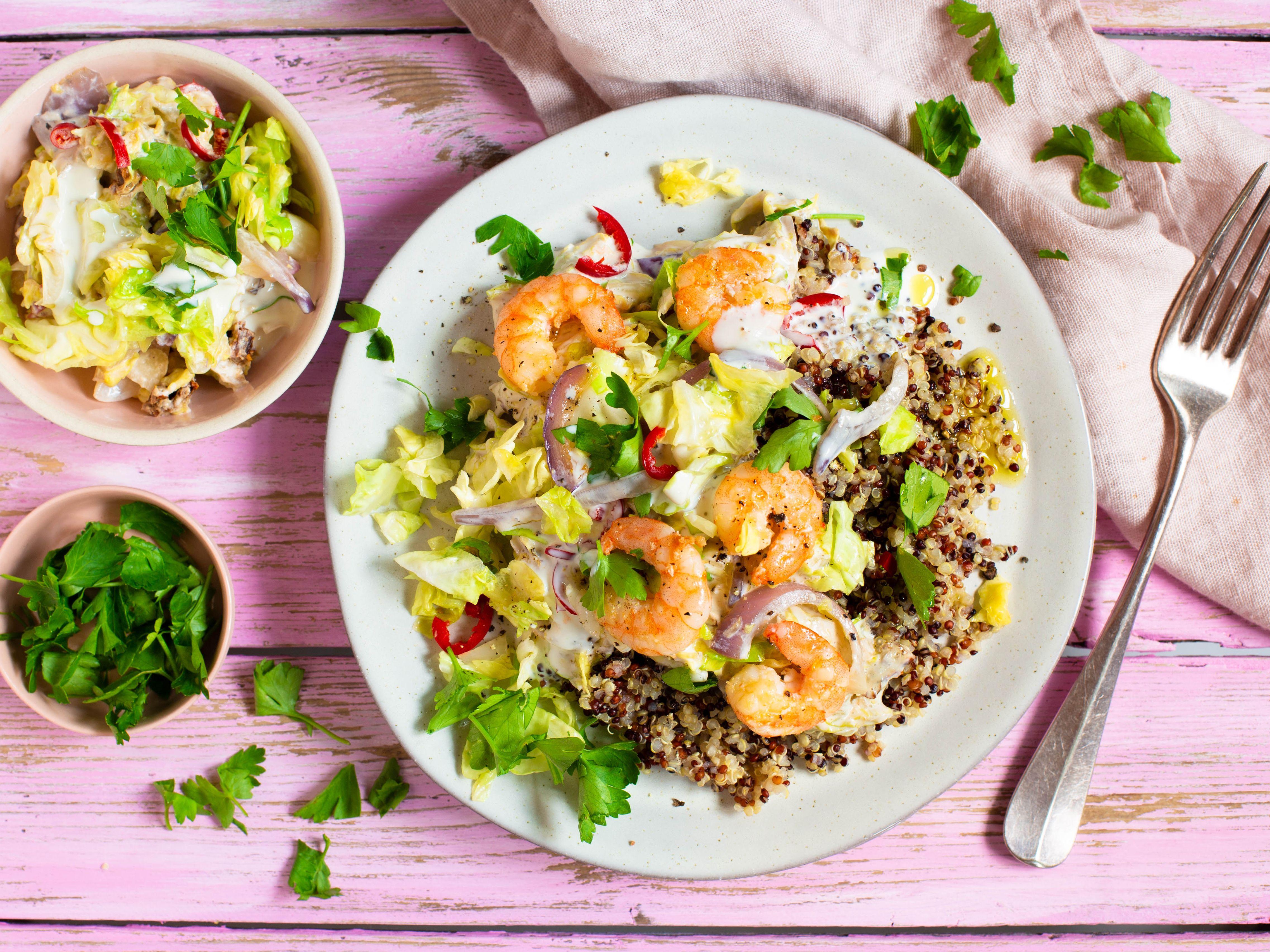 Quinoa mit Garnelen und Chili Gemüse