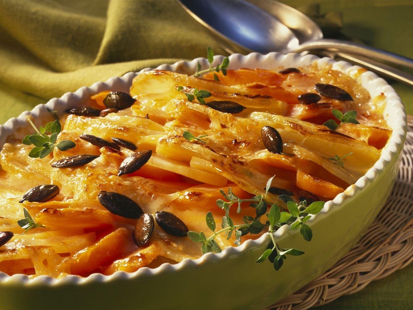 Süßkartoffel Karotten Gratin Mit Kürbiskernen Rezept Eat Smarter