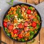 Vegane Linsen-Pasta mit Pesto rosso und Rucola Rezept
