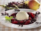 Birnenkompott mit Holunder und Eis Rezept