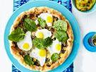 Blätterteig-Quiche mit Hackfleisch, Spinat und Wachtelspiegeleiern Rezept
