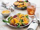 Blumenkohl-Nuggets auf festlichem Salat mit Kaki-Dressing Rezept