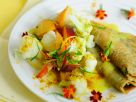 Buchweizenpfannkuchen mit Blumenkohl und Currysoße Rezept