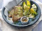 Doradenfilets mit Zucchini und Salat Rezept
