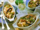 Fischgratin mit Lauchzwiebeln und Muscheln Rezept