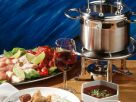 Fleisch-Fondue mit Chutney und Erdnußsauce Rezept
