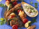 Fleisch-Gemüse-Spieße mit Joghurtsoße Rezept
