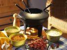 Fondue mit Rinderfilet und dreierlei Saucen Rezept