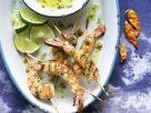 Garnelen am Spieß mit Chili-Kräuter-Dip Rezept