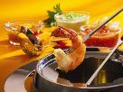 Garnelen-Fondue mit verschiedenen Saucen Rezept