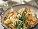 Garnelen und Seezunge mit Karotten-Bohnen-Gemüse Rezept