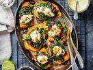 Gebackene Süßkartoffeln mit Bohnen Rezept