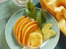 Gebackene Ziegenkäserolle mit Melone Rezept