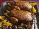 Gebratene Ente mit Zwiebeln und Orangen in-Honig-Rosmarin-Marinade Rezept
