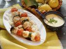 Gebratene Kabeljauspieße auf Reis Rezept