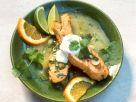 Gebratene Lachsfilets in Orangen-Wasabi-Sauce Rezept