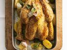Gebratenes Hähnchen mit Kartoffeln und Oliven Rezept