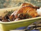 Gebratenes Hähnchen und Champignons und Thymian Rezept