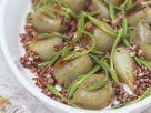 Gefüllte Zwiebeln mit rotem Reis und wildem Spargel Rezept