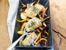 Gegrillter Alaska-Kabeljau mit Wurzelgemüse aus dem Ofen Rezept