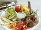 Gegrilltes Elchsteak mit verschiedenem Gemüse Rezept
