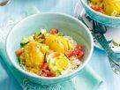 Gekochte Eier mit Curry-Kokos-Sauce auf Reis Rezept