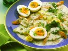 Gemüse mit Kräutercremesauce und Ei Rezept