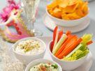 Gemüse mit verschiedenen Dips Rezept