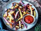 Gemüse-Pommes mit Ketchup Rezept
