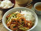 Gemüse-Shrimps-Pfanne mit Reis Rezept