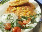 Gemüseküchlein mit Kräuterdip und Rucola Rezept